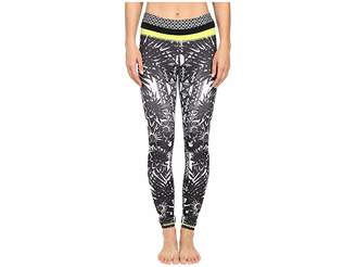Pink Lotus Floral Burst Locate Printed Leggings with Contrast Band Women's Casual Pants