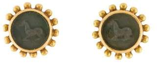 Elizabeth Locke 18K Mother of Pearl & Glass Intaglio Studs