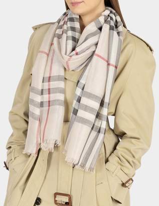 Burberry 215X70 Metallic Gauze Giant Check Scarf in Stone and Silver Wool, Mulberry Silk, Lurex and Viscose