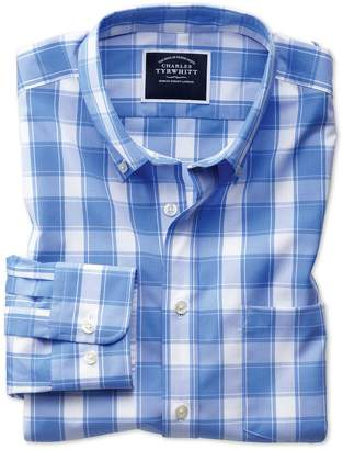 Extra Slim Fit Button-Down Non-Iron Poplin Blue and White Check Cotton Shirt Single Cuff Size XS