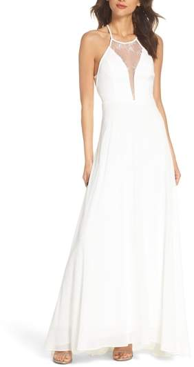 Lace Inset Halter Neck Gown