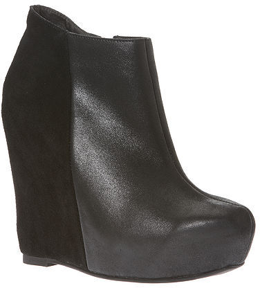 Pieced Suede & Leather Hidden-Wedge Bootie by Shape fx®