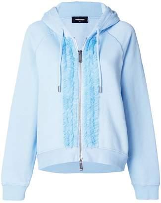 DSQUARED2 ruffle trim zipped hoodie