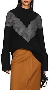 Derek Lam Women's Chevron-Striped Cashmere Sweater - Black