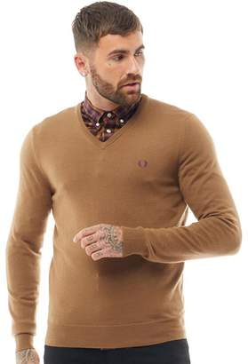 Fred Perry Mens Classic Tipped V-Neck Sweater Dark Caramel
