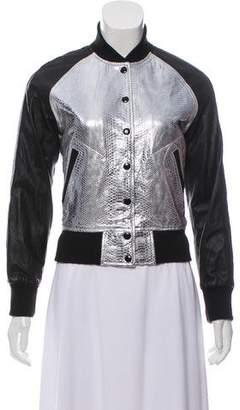 R 13 Leather Metallic Jacket