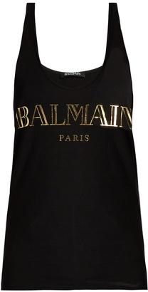 BALMAIN Logo-print cotton-jersey tank top $150 thestylecure.com