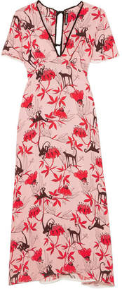 Markus Lupfer Ruffle-trimmed Printed Crepe De Chine Dress - Pink