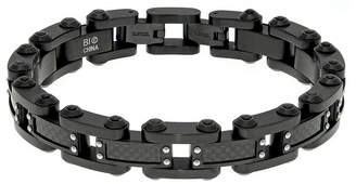 FINE JEWELRY Mens Black IP Stainless Steel and Carbon Fiber Bracelet