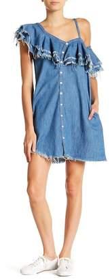 Blank NYC BLANKNYC Denim Asymmetrical Raw Edge Denim Button Down Dress
