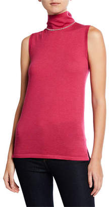Neiman Marcus Chain-Trim Sleeveless Mock-Neck Cashmere Sweater