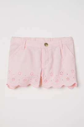 H&M Embroidered Cotton Shorts - Pink