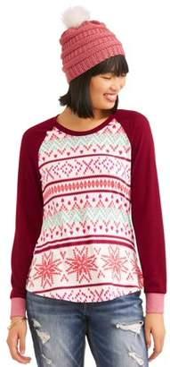 Self Esteem Juniors' Contrast Raglan Sleeve T-Shirt w/ Beanie 2Fer