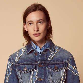Sandro Short embroidered denim jacket