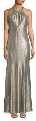 Decode 1.8 High Neck Metallic Long Gown