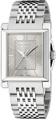 Gucci G-Timeless Rectangle Stainless Steel Bracelet Watch, Silver
