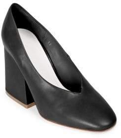 Maison Margiela Leather Chunky Heel Pumps
