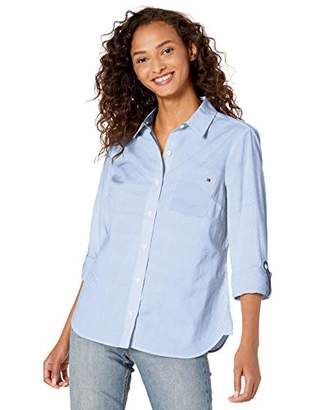 Tommy Hilfiger Women's Plus-Size Roll Tab Button Down Shirt