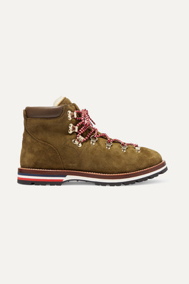 Moncler Blanche Shearling-lined Suede Ankle Boots