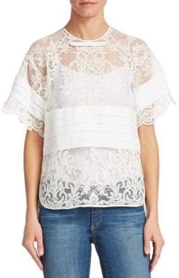 06c604ddb2c3d9 Sheer Cream Lace Top - ShopStyle Australia