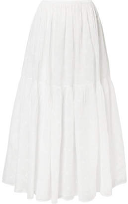 Mes Demoiselles Andromaque Tiered Embroidered Cotton-voile Maxi Skirt - White