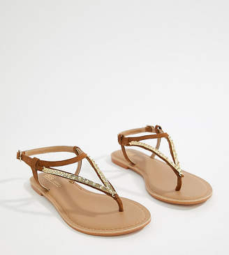 Asos Design DESIGN Fixing Wide Fit Leather Embellished Flat Sandal