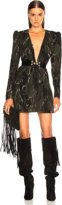 Saint Laurent Camouflage Plunging Mini Dress