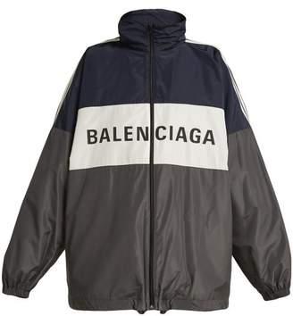 Balenciaga - Tri Colour Logo Printed Jacket - Womens - Navy Multi