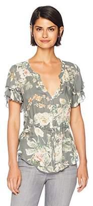 Chaser Women's Heirloom Gauze Flouncy S/S Button up Peplum Top