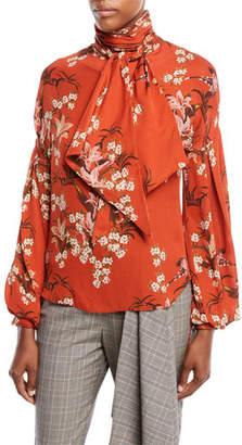 Johanna Ortiz La Recoleta Tie-Neck Long-Sleeve Floral-Print Silk Georgette Blouse