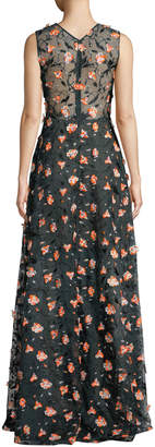 Jason Wu Sleeveless Floral-Embroidered V-Neck Gown