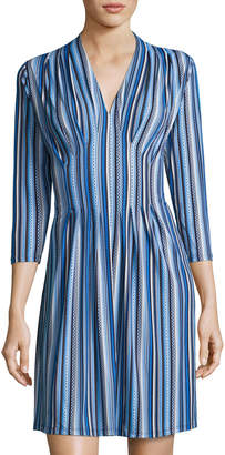 Catherine Malandrino 3/4-Sleeve Inverted-Pleat Dress, Blue Pattern
