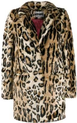 Apparis faux-fur leopard coat