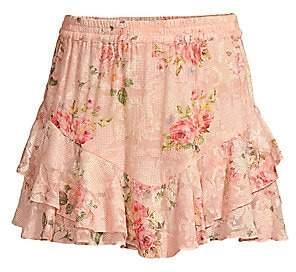 HEMANT AND NANDITA Women's Floral Ruffle Skirt