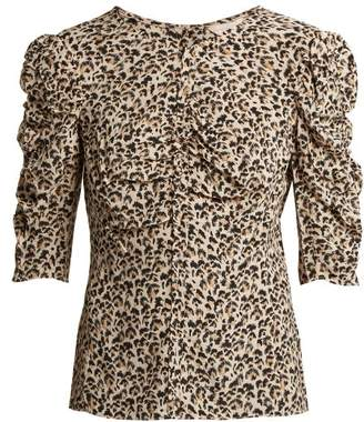 Rebecca Taylor - Ruched Leopard Print Silk Blouse - Womens - Animal