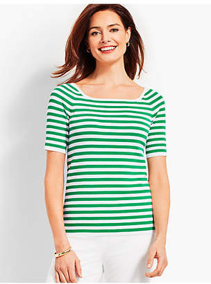 Talbots Square-Neck Elbow-Sleeve Sweater Topper-Resort Stripe