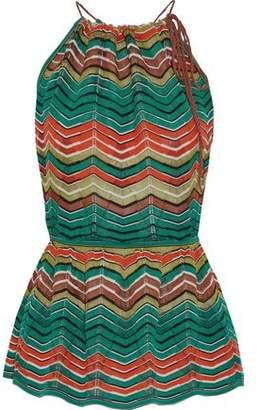 M Missoni Open-Back Crochet-Knit Peplum Top
