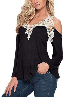 Bling Stars Ladies Off Shoulder Lace Crochet Hollow Long Sleeve Shirt Blouse Tops