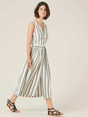 Sessun Stripe Calapunta Buttoned Dress - S - Grey/White