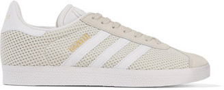 adidas Originals - Gazelle Suede-trimmed Primeknit Sneakers - Light gray $80 thestylecure.com