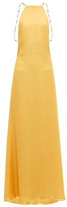 Cult Gaia Claire Backless Silk Maxi Dress - Womens - Yellow