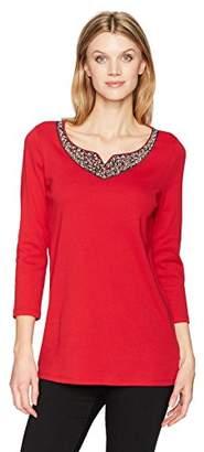Rafaella Women's Missy Jewel Embellished 3/4-sleeve Top