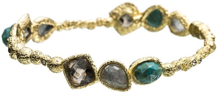 Alexis Bittar Cordova Gold Small Chrysocolla Encrusted Bracelet