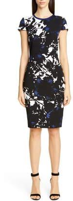 St. John Graphic Floral Jacquard Sweater Dress