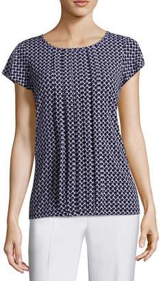 Liz Claiborne Flutter Sleeve Pleated Neck Knit Blouse