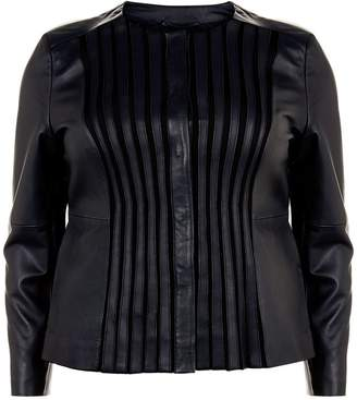 Marina Rinaldi Collarless Leather Jacket