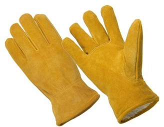 Hands On LD4005-M, Premium Cow Suede Leather Driver Glove, Sherpa Lined