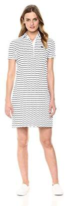 Lacoste Women's Short Sleeve Printed Back Button Polo Dress