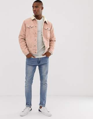 Pull&Bear fleece lined jacket in pink