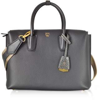 MCM Phantom Grey Leather Milla Medium Tote